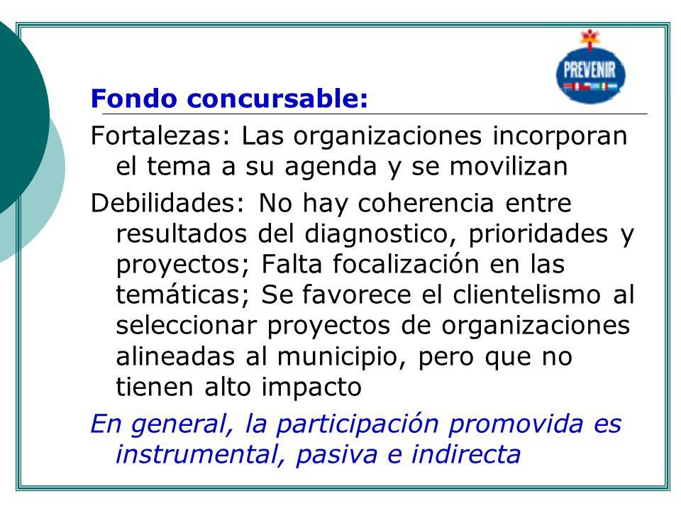 . Fondo concursable: Fortalezas: Las organizaciones incorporan el tema a su agenda y se movilizan.