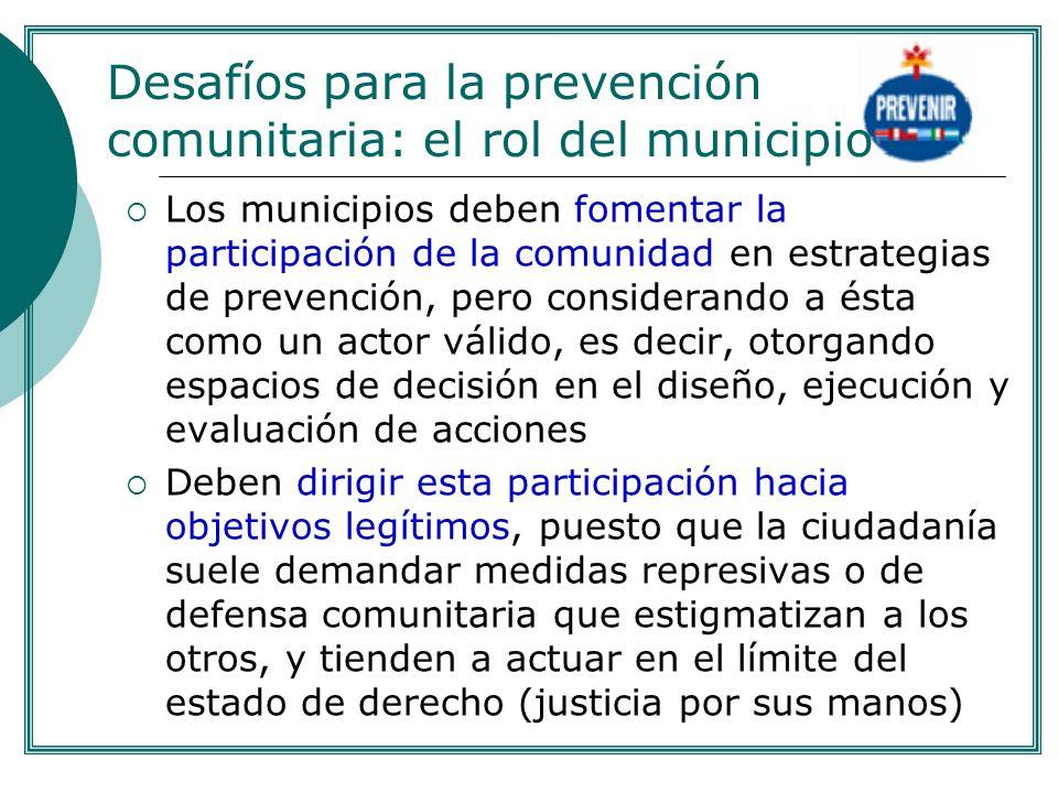 Desafíos para la prevención comunitaria: el rol del municipio