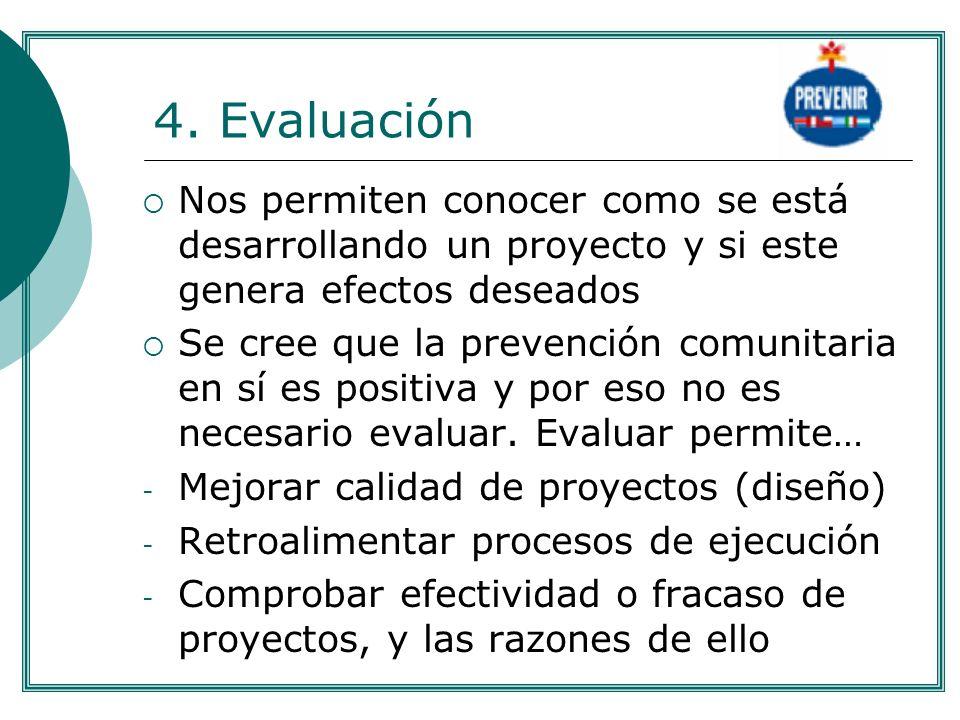 . 4. Evaluación. Nos permiten conocer como se está desarrollando un proyecto y si este genera efectos deseados.