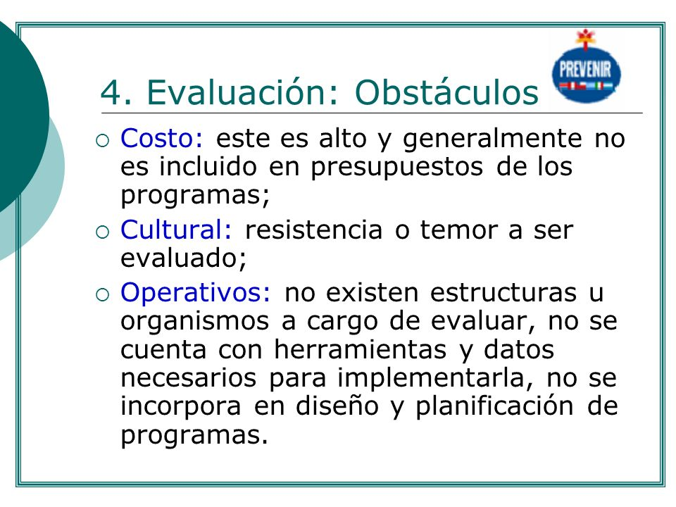 4. Evaluación: Obstáculos
