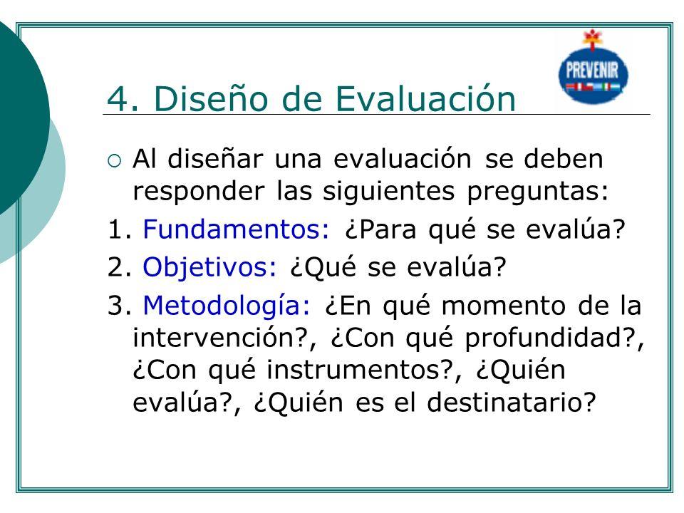 . 4. Diseño de Evaluación. Al diseñar una evaluación se deben responder las siguientes preguntas: 1. Fundamentos: ¿Para qué se evalúa