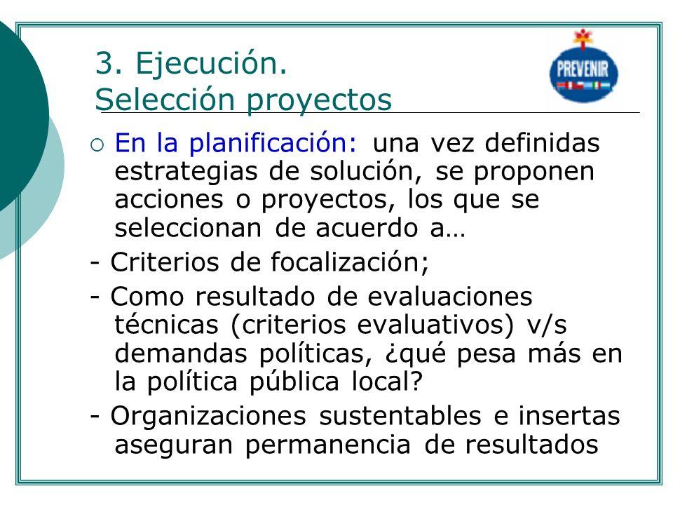3. Ejecución. Selección proyectos