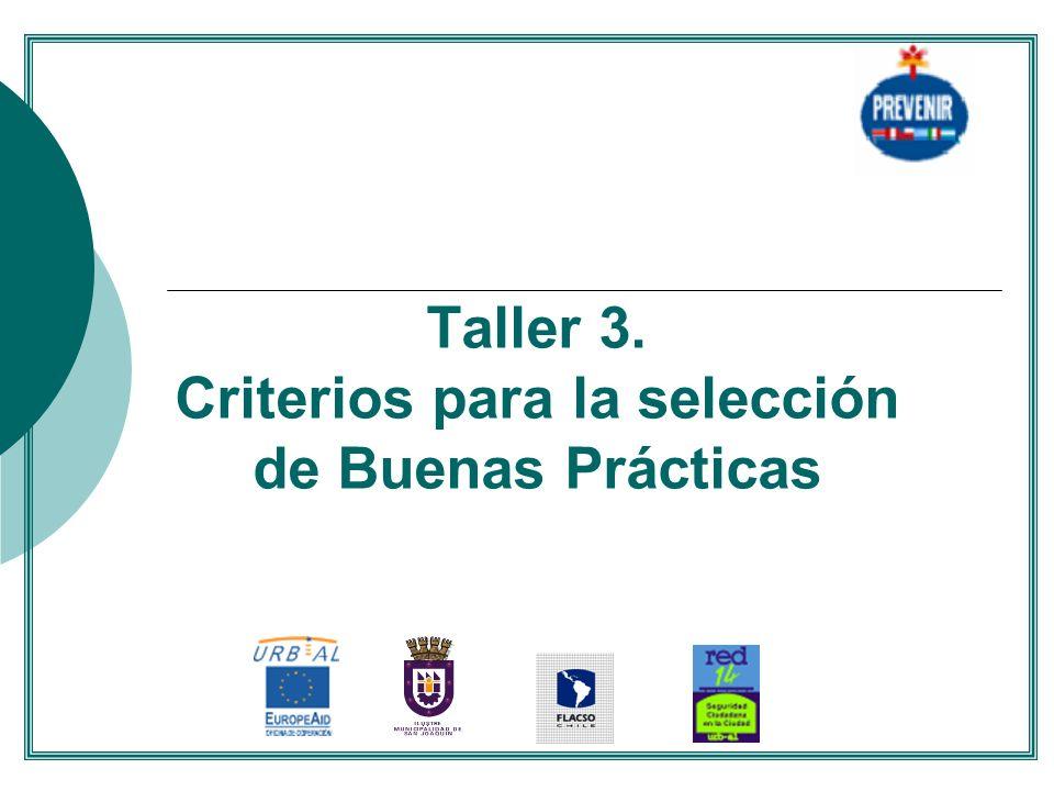 Taller 3. Criterios para la selección de Buenas Prácticas