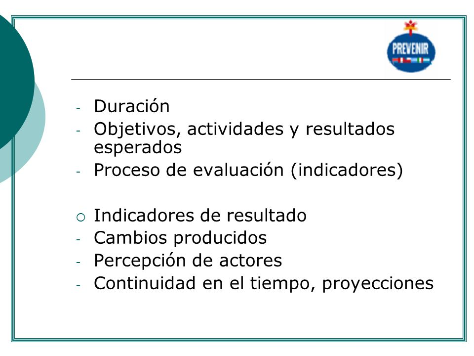 Objetivos, actividades y resultados esperados
