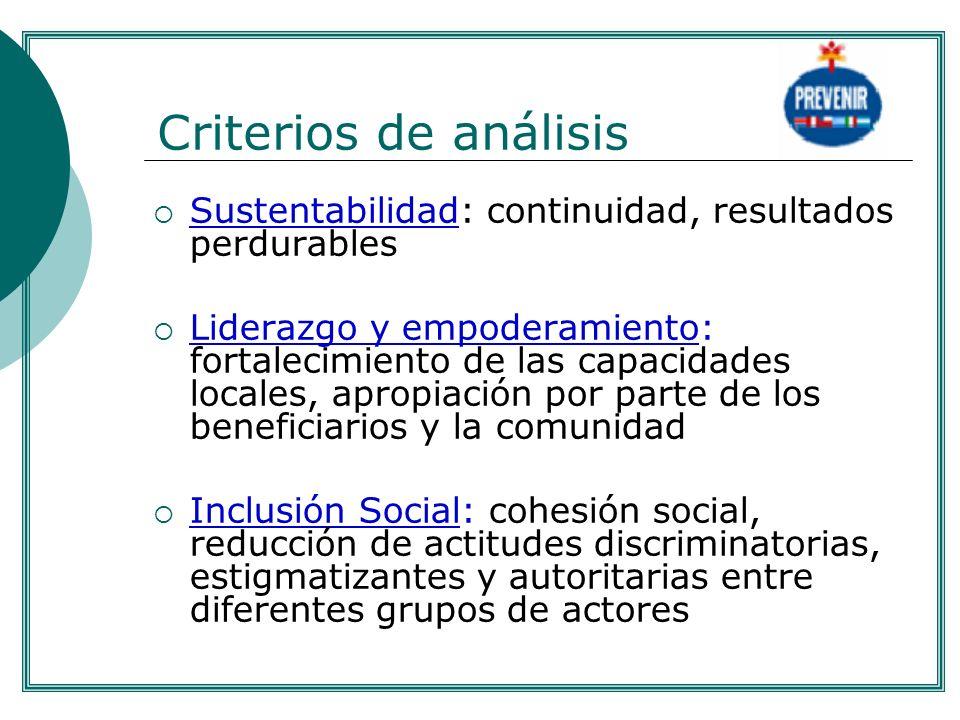 . Criterios de análisis. Sustentabilidad: continuidad, resultados perdurables.