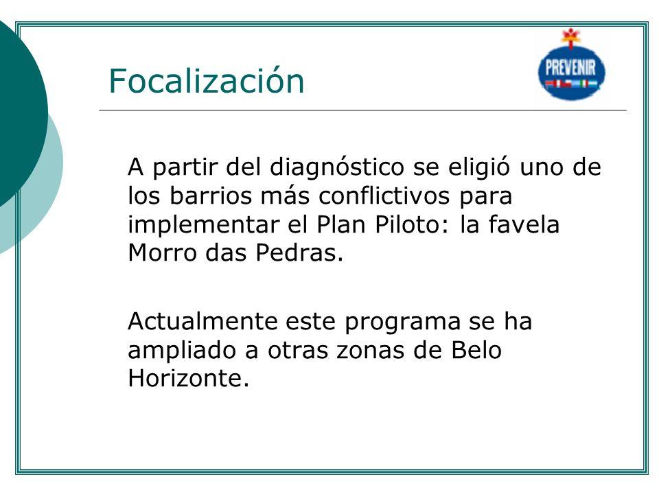 .Focalización. A partir del diagnóstico se eligió uno de los barrios más conflictivos para implementar el Plan Piloto: la favela Morro das Pedras.