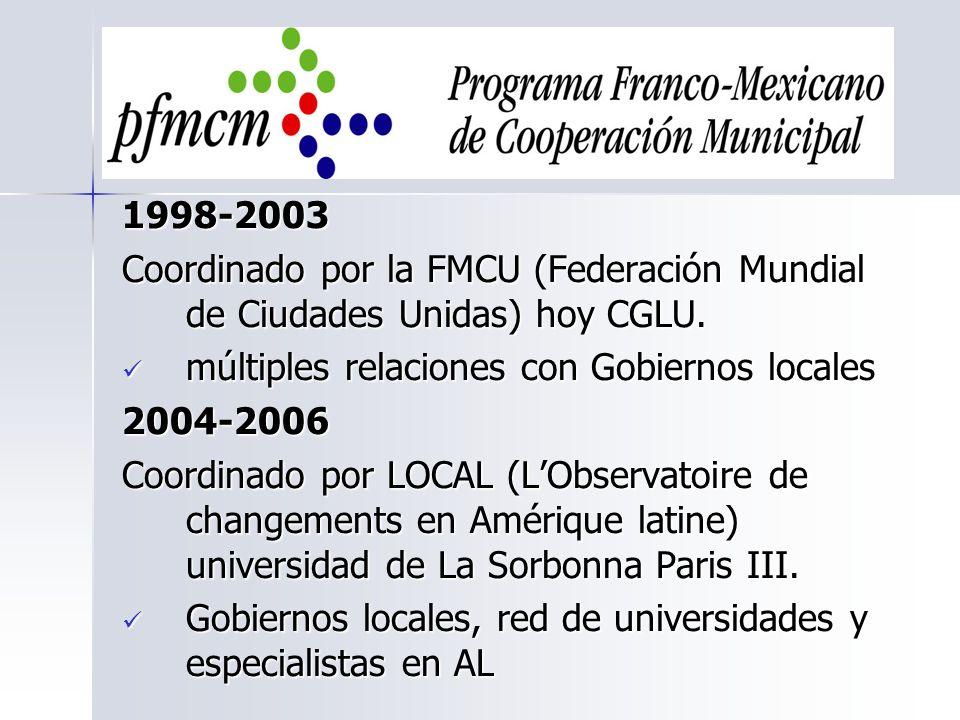 1998-2003 Coordinado por la FMCU (Federación Mundial de Ciudades Unidas) hoy CGLU. múltiples relaciones con Gobiernos locales.