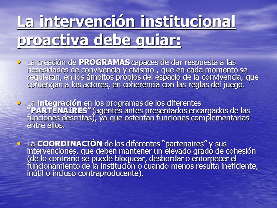 La intervención institucional proactiva debe guiar:
