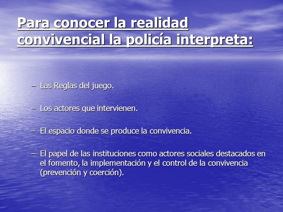 Para conocer la realidad convivencial la policía interpreta: