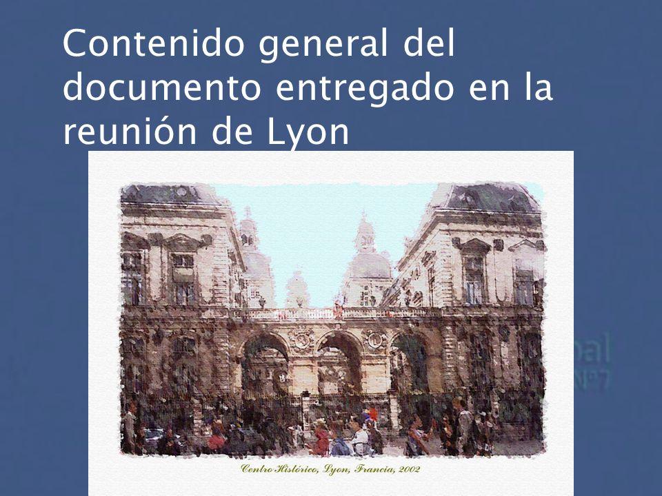 Contenido general del documento entregado en la reunión de Lyon