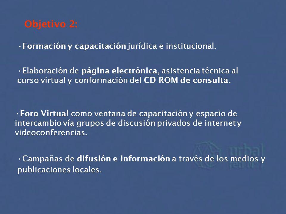 Objetivo 2: Formación y capacitación jurídica e institucional.