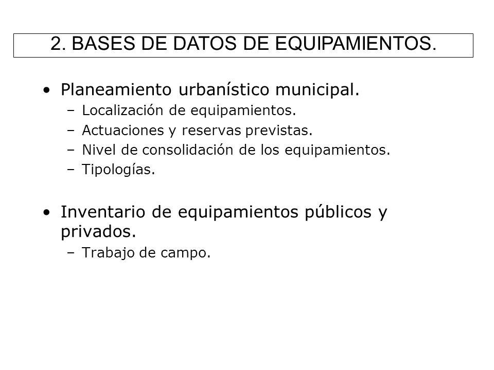 2. BASES DE DATOS DE EQUIPAMIENTOS.