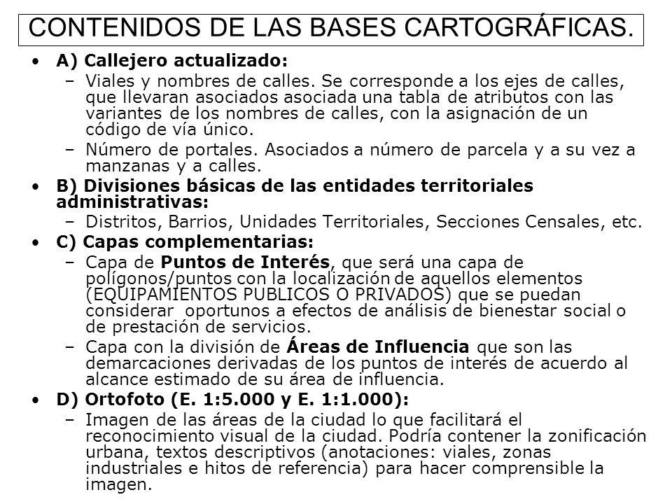 CONTENIDOS DE LAS BASES CARTOGRÁFICAS.