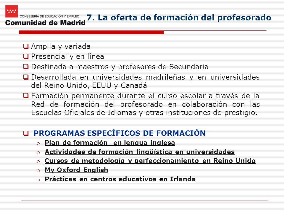 7. La oferta de formación del profesorado