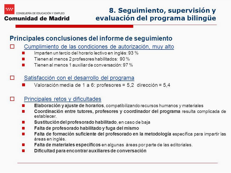8. Seguimiento, supervisión y evaluación del programa bilingüe