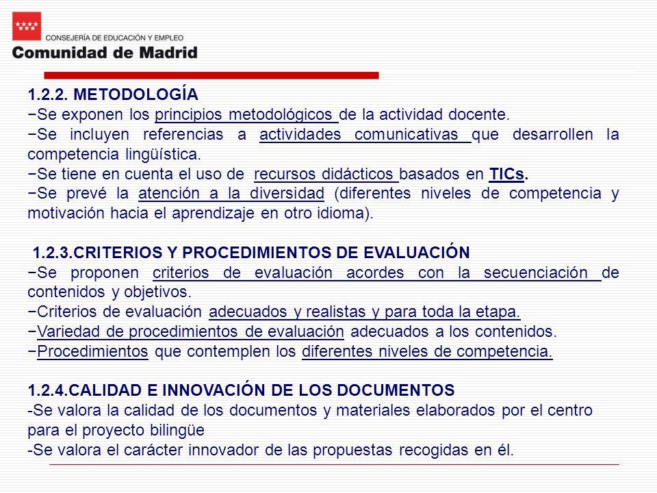 1.2.2. METODOLOGÍA Se exponen los principios metodológicos de la actividad docente.