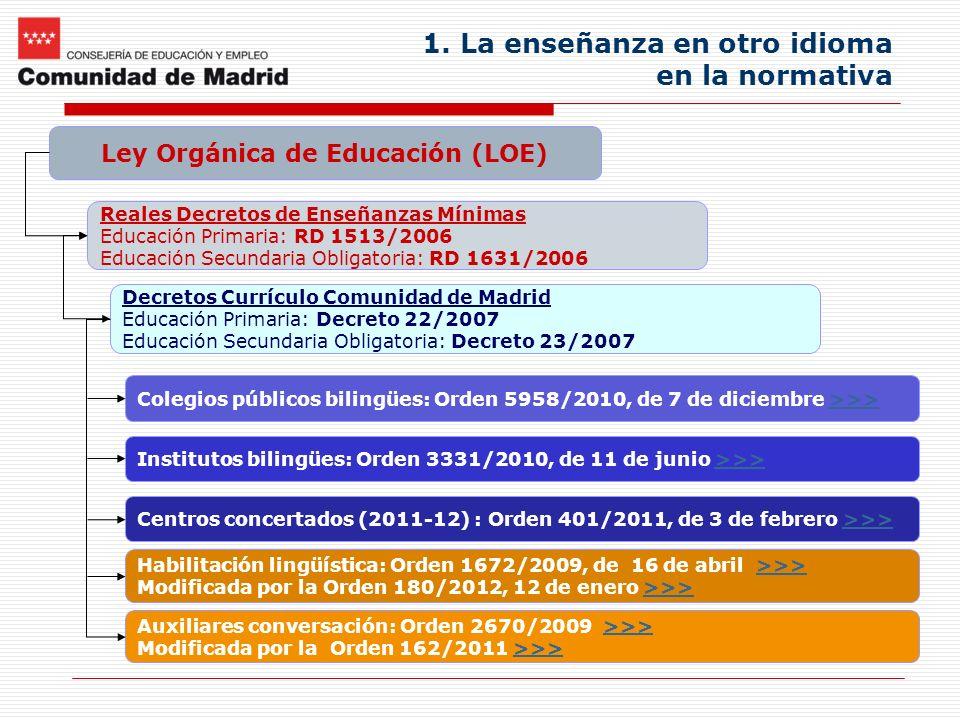 1. La enseñanza en otro idioma en la normativa