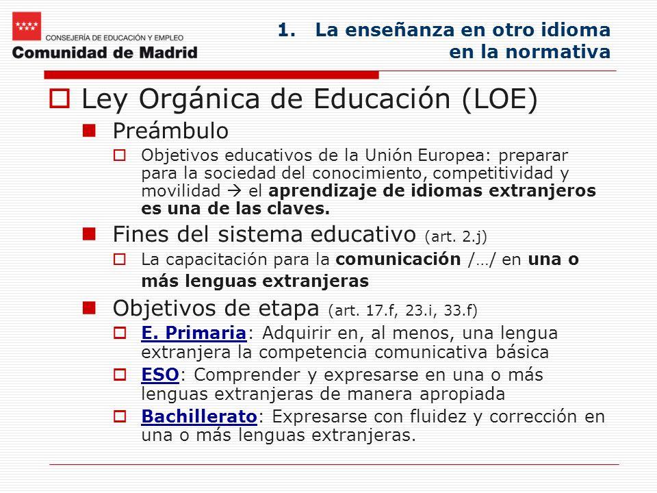 La enseñanza en otro idioma en la normativa