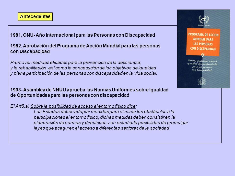Antecedentes 1981, ONU- Año Internacional para las Personas con Discapacidad. 1982, Aprobación del Programa de Acción Mundial para las personas.