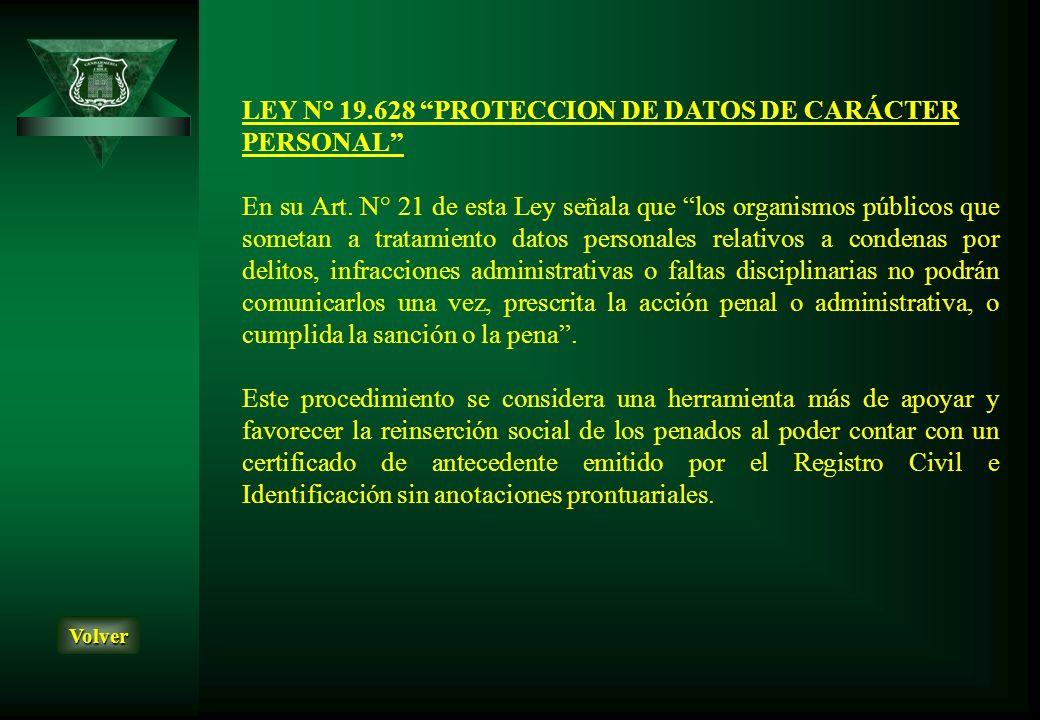 LEY N° 19.628 PROTECCION DE DATOS DE CARÁCTER PERSONAL