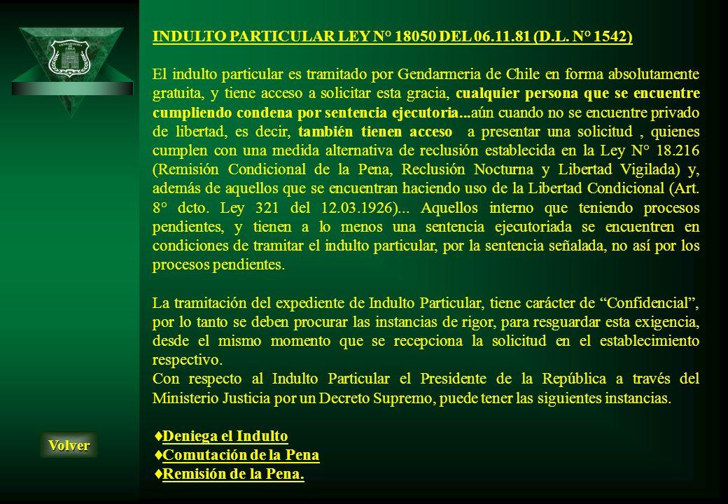 INDULTO PARTICULAR LEY N° 18050 DEL 06.11.81 (D.L. N° 1542)