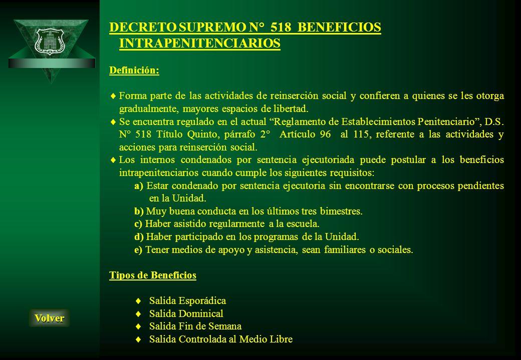 DECRETO SUPREMO N° 518 BENEFICIOS INTRAPENITENCIARIOS
