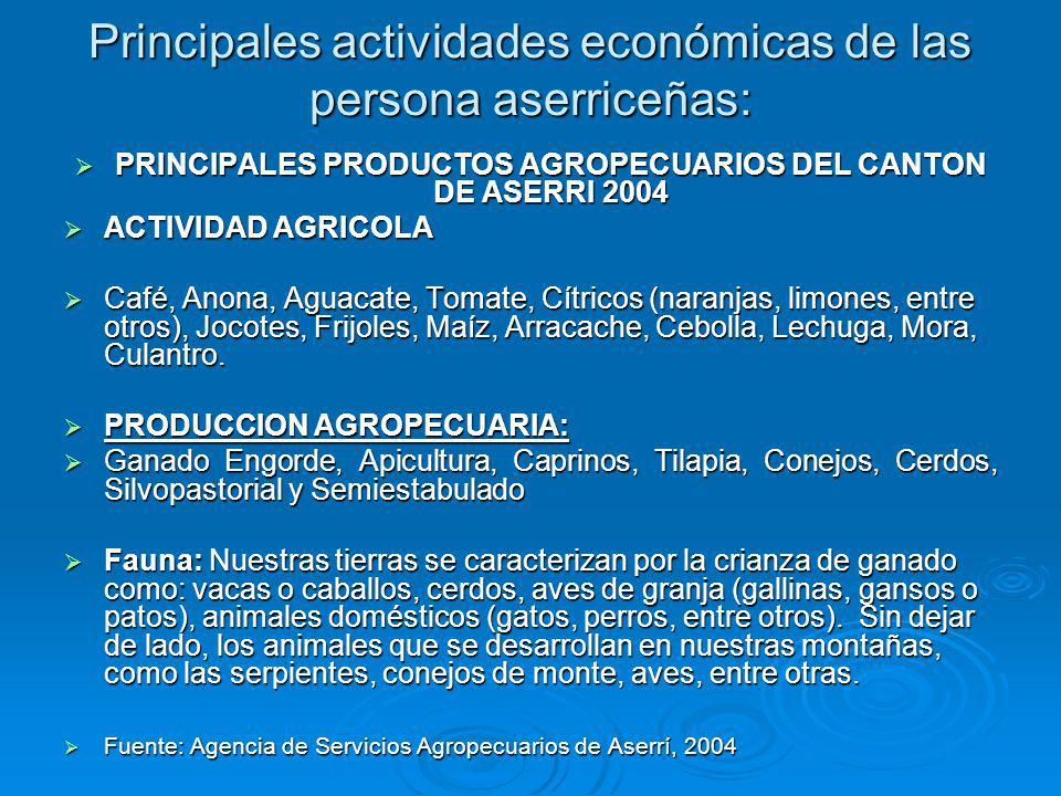 Principales actividades económicas de las persona aserriceñas: