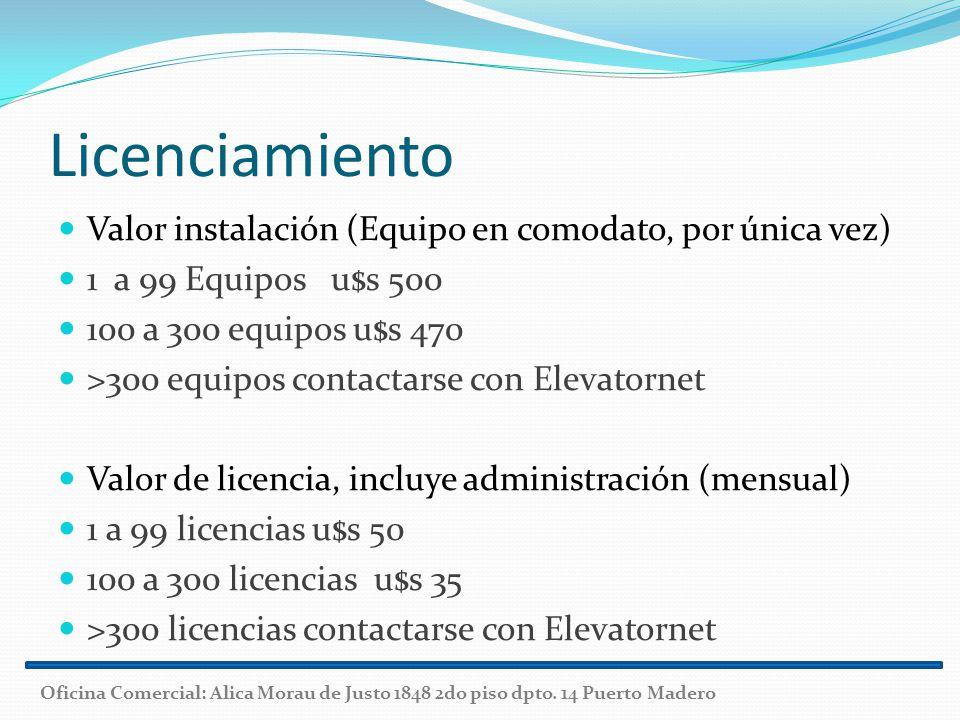 Licenciamiento Valor instalación (Equipo en comodato, por única vez)