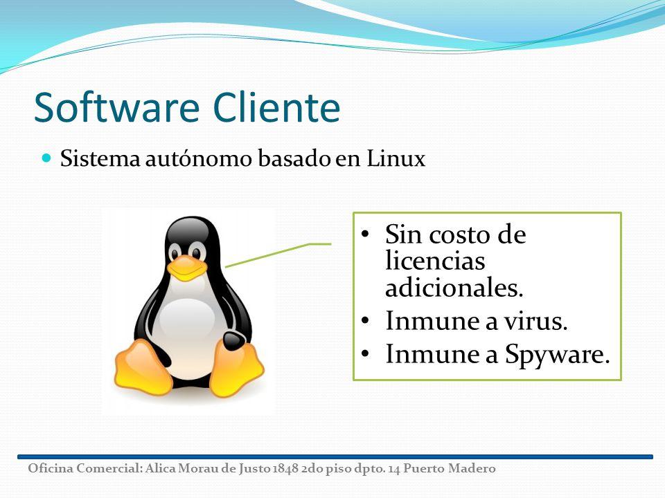 Software Cliente Sin costo de licencias adicionales. Inmune a virus.