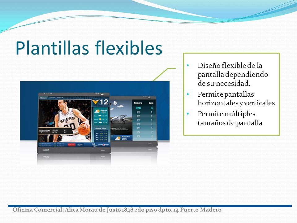 Plantillas flexibles Diseño flexible de la pantalla dependiendo de su necesidad. Permite pantallas horizontales y verticales.