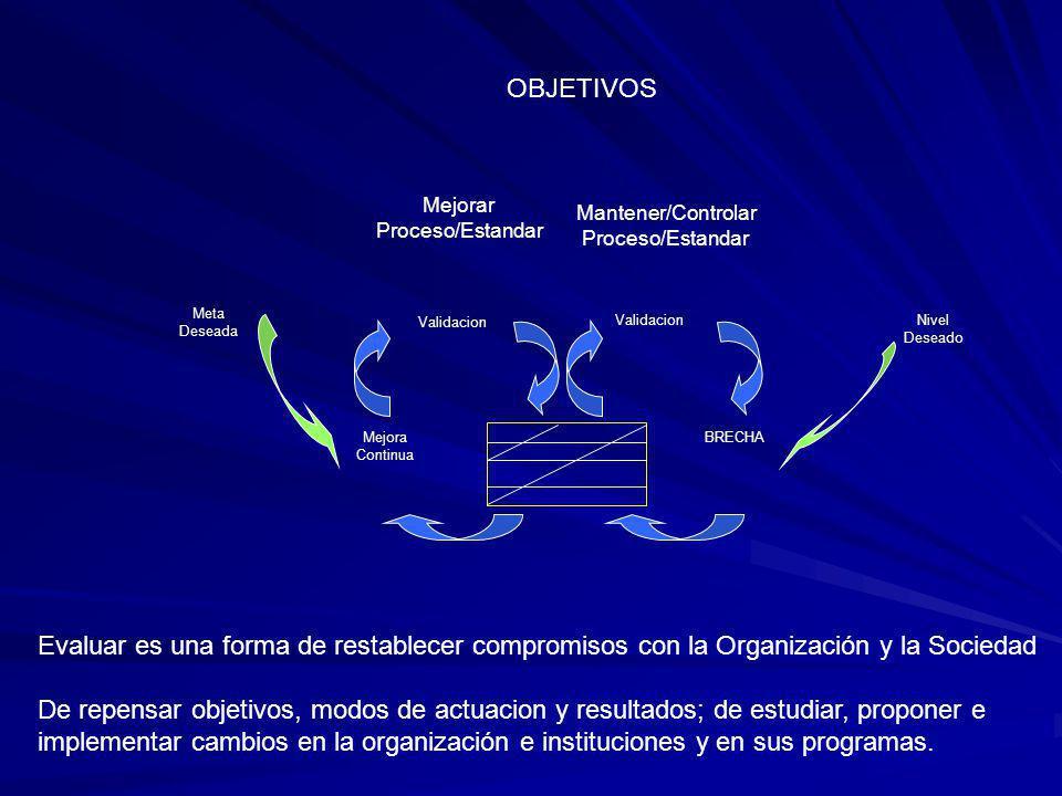 OBJETIVOS Mejorar. Proceso/Estandar. Mantener/Controlar. Proceso/Estandar. Meta Deseada. Validacion.