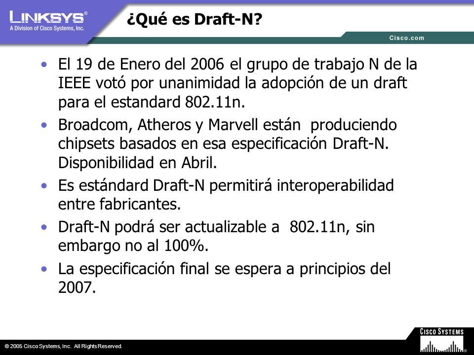 ¿Qué es Draft-N El 19 de Enero del 2006 el grupo de trabajo N de la IEEE votó por unanimidad la adopción de un draft para el estandard 802.11n.