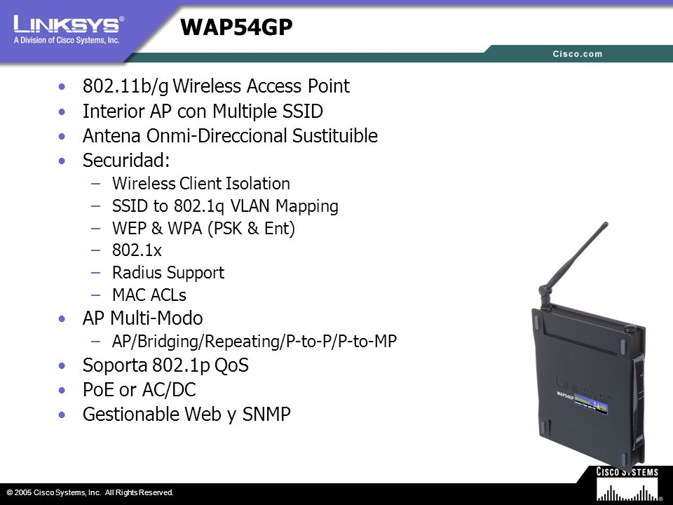 WAP54GP 802.11b/g Wireless Access Point Interior AP con Multiple SSID