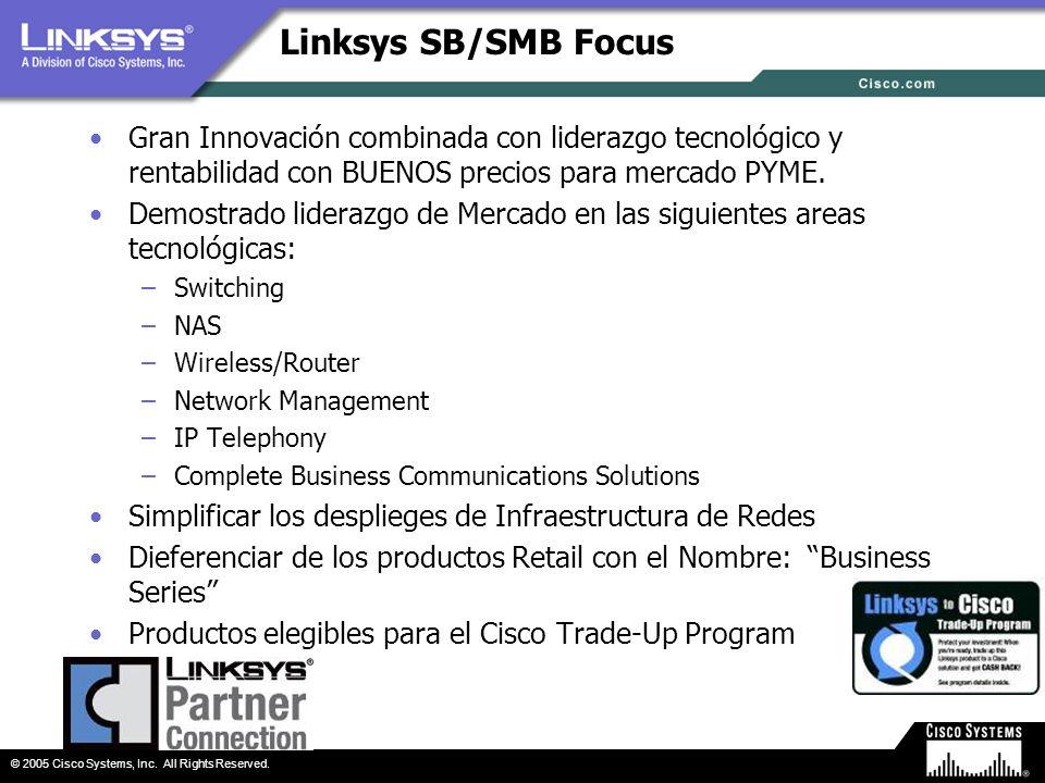 Linksys SB/SMB Focus Gran Innovación combinada con liderazgo tecnológico y rentabilidad con BUENOS precios para mercado PYME.