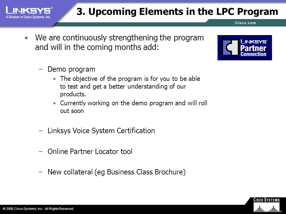 3. Upcoming Elements in the LPC Program