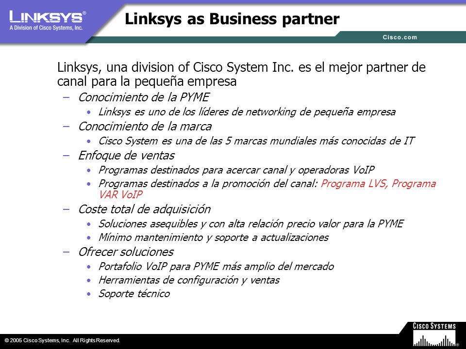 Linksys as Business partner