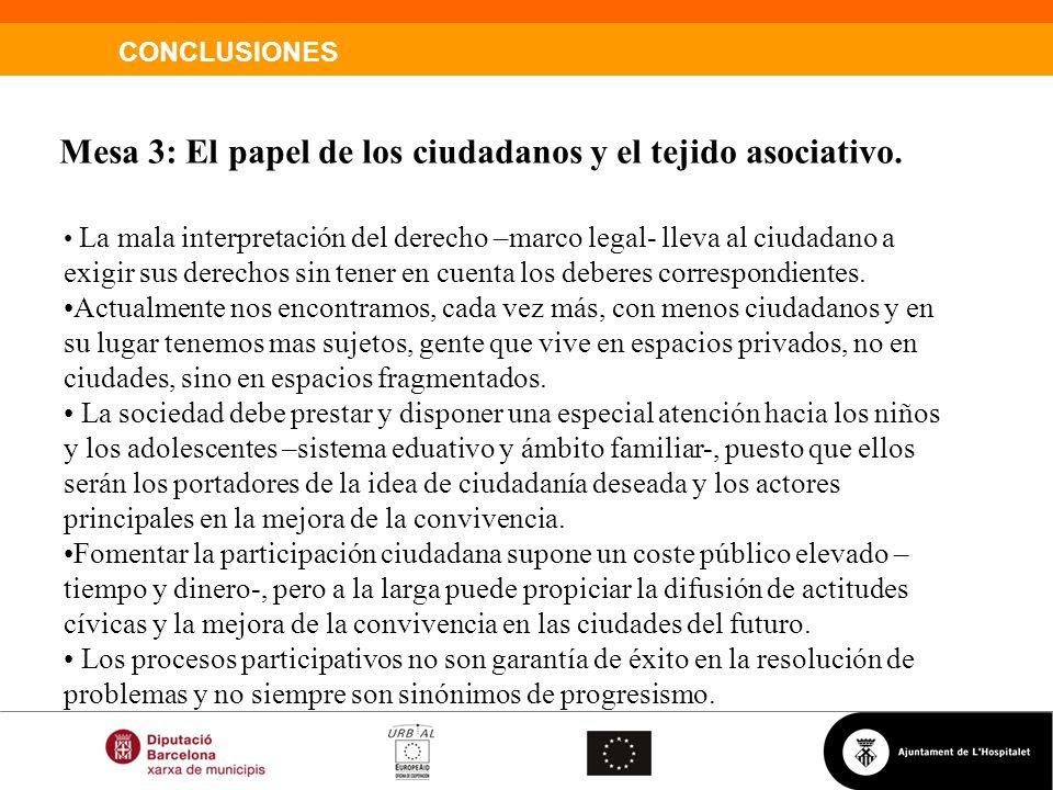 Mesa 3: El papel de los ciudadanos y el tejido asociativo.