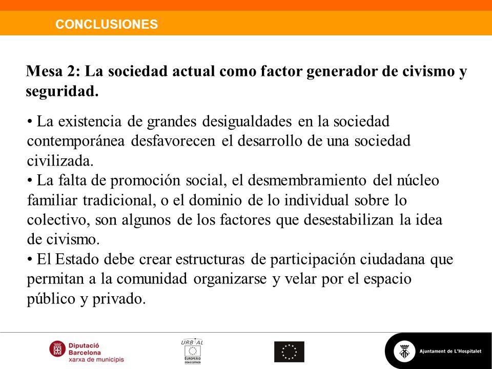 Mesa 2: La sociedad actual como factor generador de civismo y seguridad.