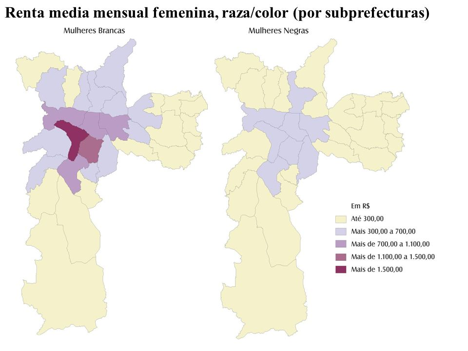 Renta media mensual femenina, raza/color (por subprefecturas)