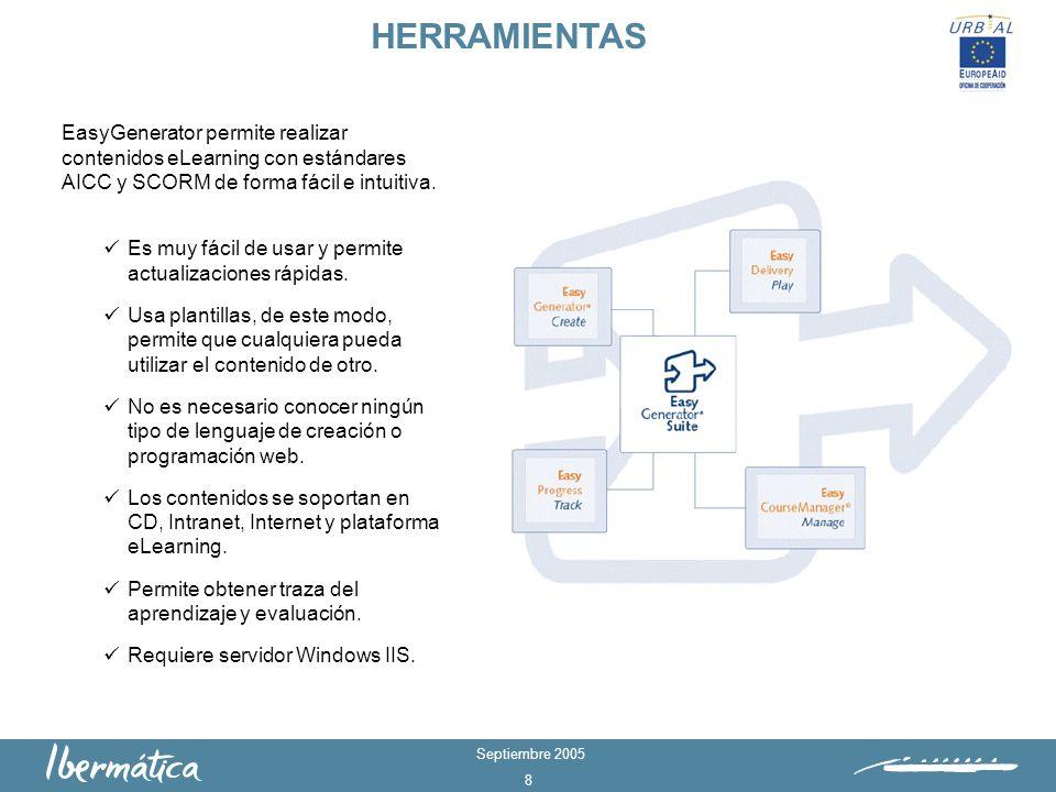 HERRAMIENTASEasyGenerator permite realizar contenidos eLearning con estándares AICC y SCORM de forma fácil e intuitiva.
