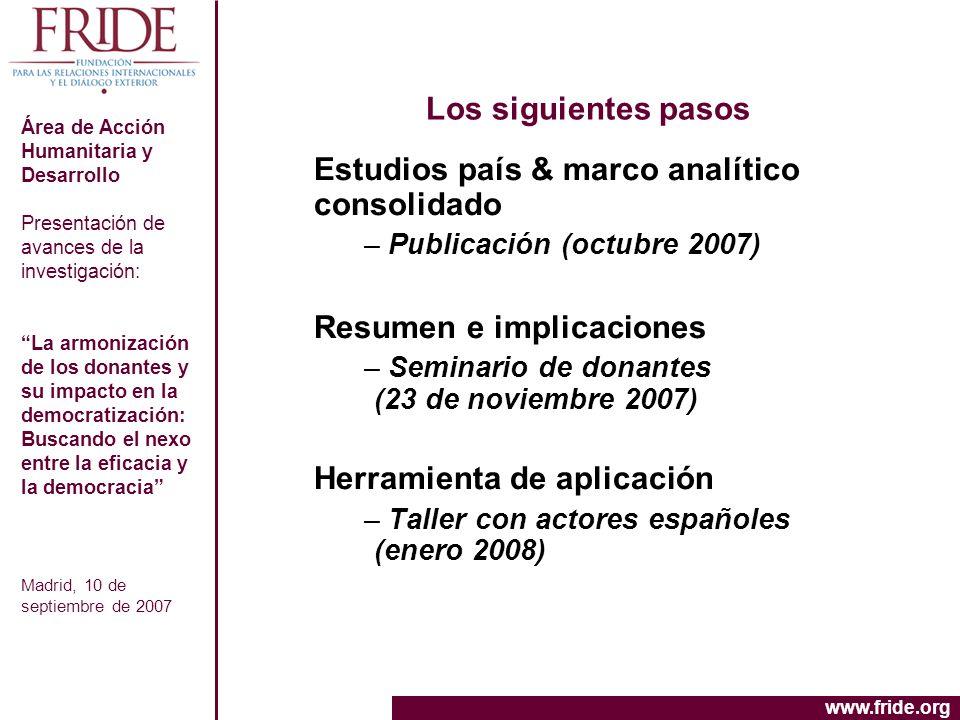 Estudios país & marco analítico consolidado