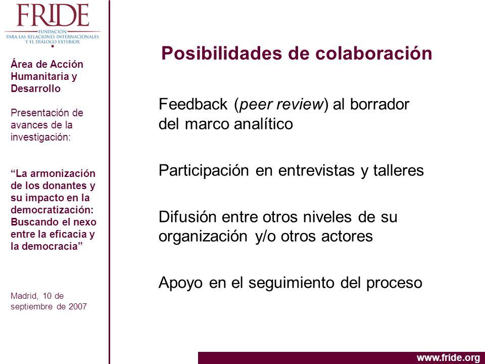 Posibilidades de colaboración