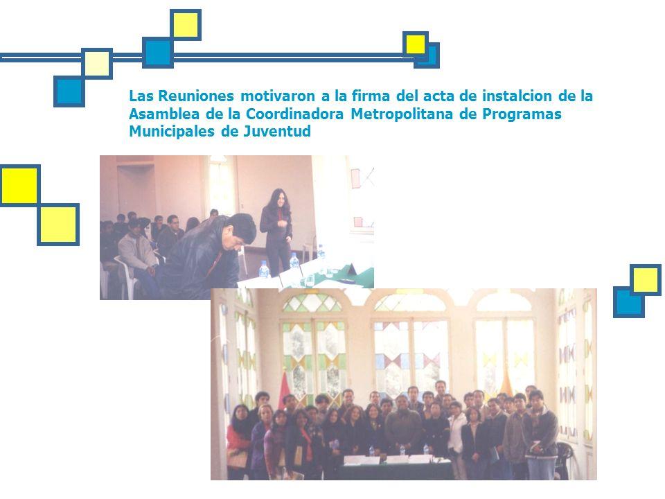 Las Reuniones motivaron a la firma del acta de instalcion de la Asamblea de la Coordinadora Metropolitana de Programas Municipales de Juventud