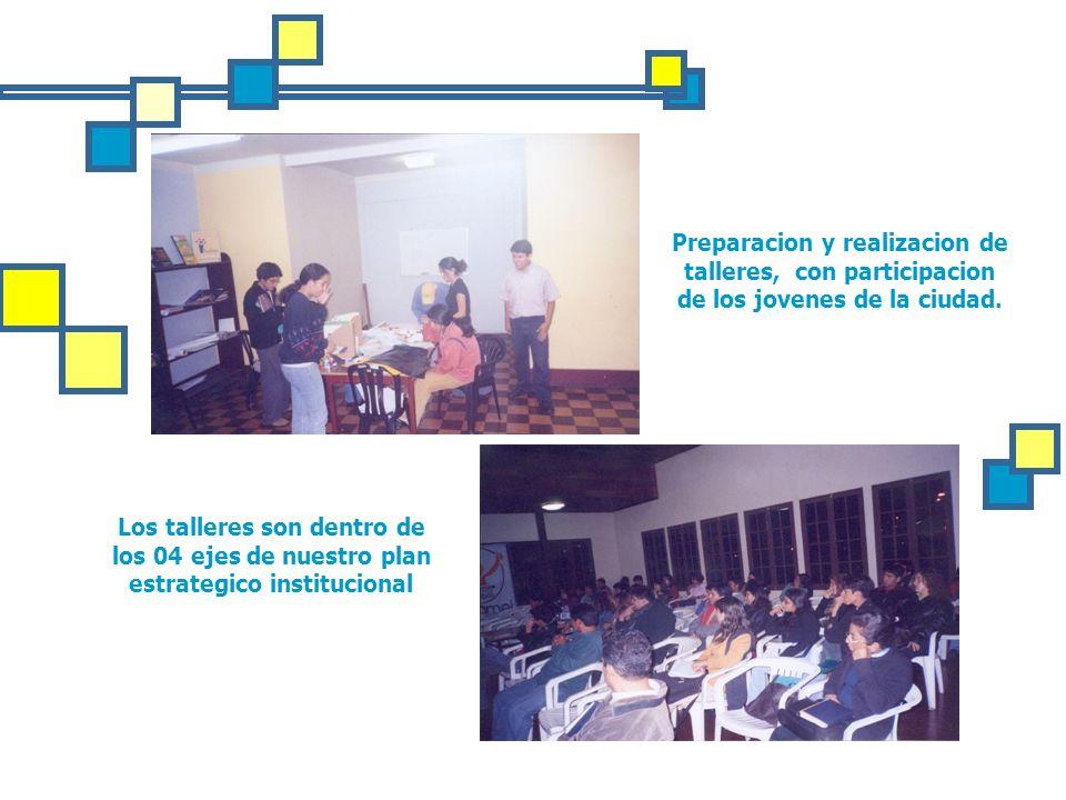 Preparacion y realizacion de talleres, con participacion de los jovenes de la ciudad.