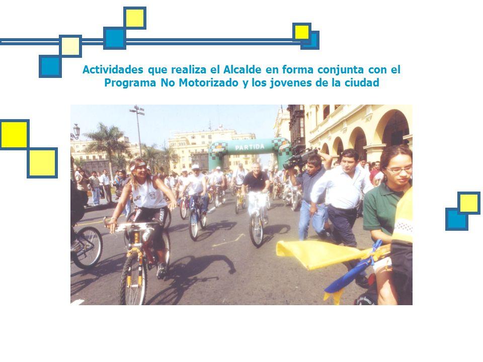 Actividades que realiza el Alcalde en forma conjunta con el Programa No Motorizado y los jovenes de la ciudad