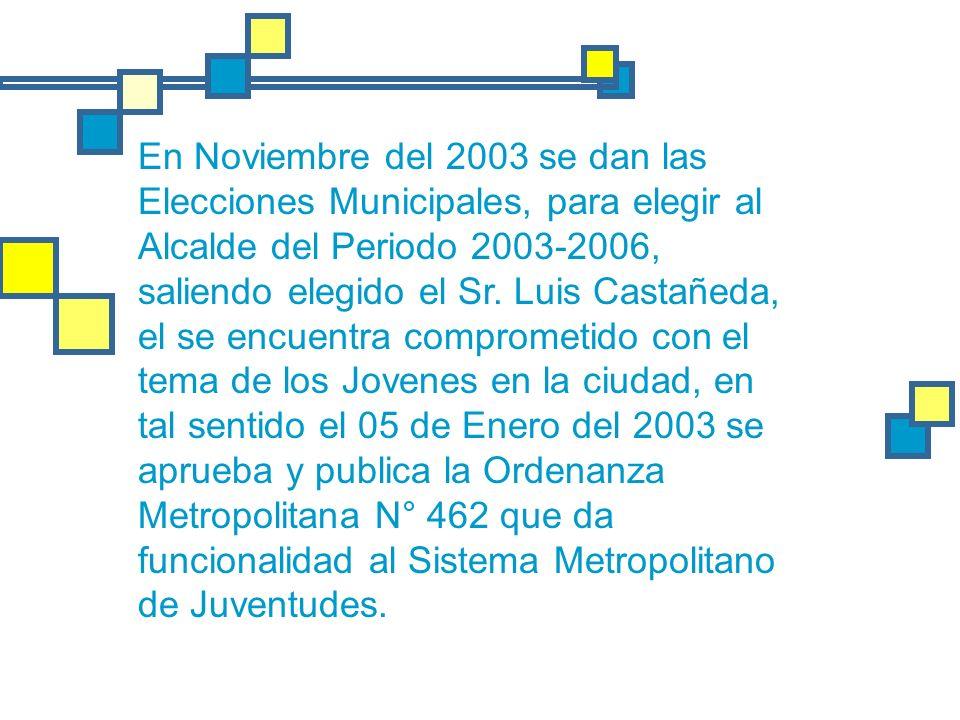 En Noviembre del 2003 se dan las Elecciones Municipales, para elegir al Alcalde del Periodo 2003-2006, saliendo elegido el Sr.