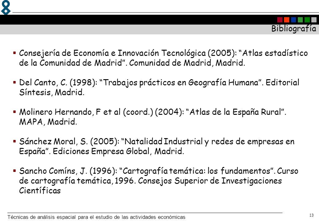 Bibliografía Consejería de Economía e Innovación Tecnológica (2005): Atlas estadístico de la Comunidad de Madrid . Comunidad de Madrid, Madrid.