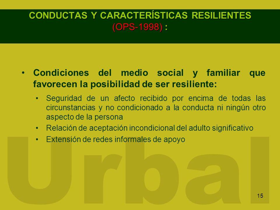 CONDUCTAS Y CARACTERÍSTICAS RESILIENTES (OPS-1998) :