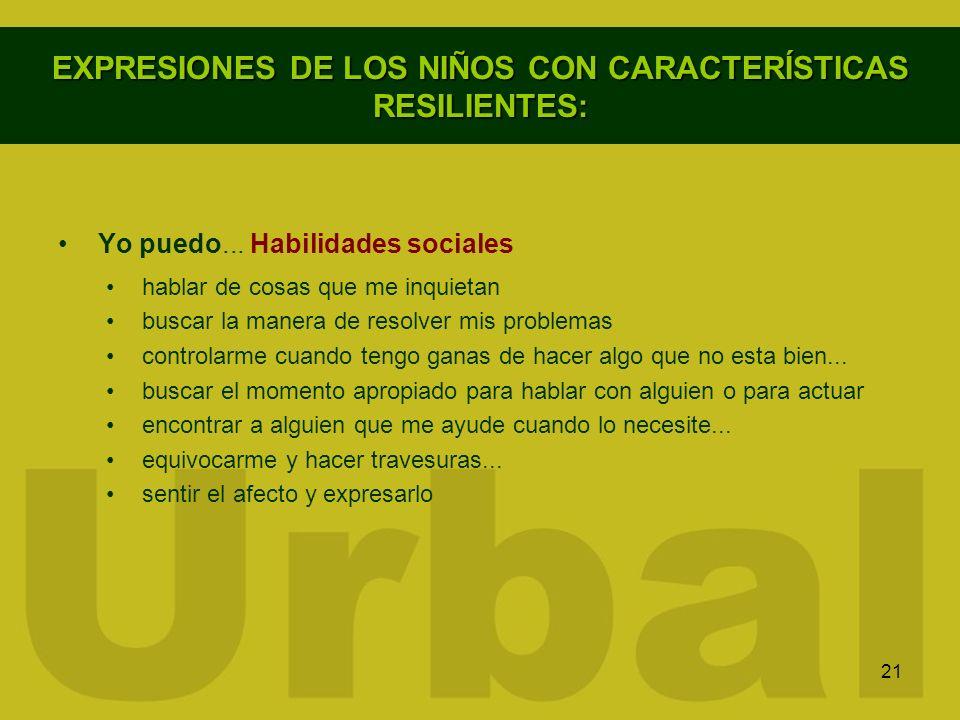 EXPRESIONES DE LOS NIÑOS CON CARACTERÍSTICAS RESILIENTES:
