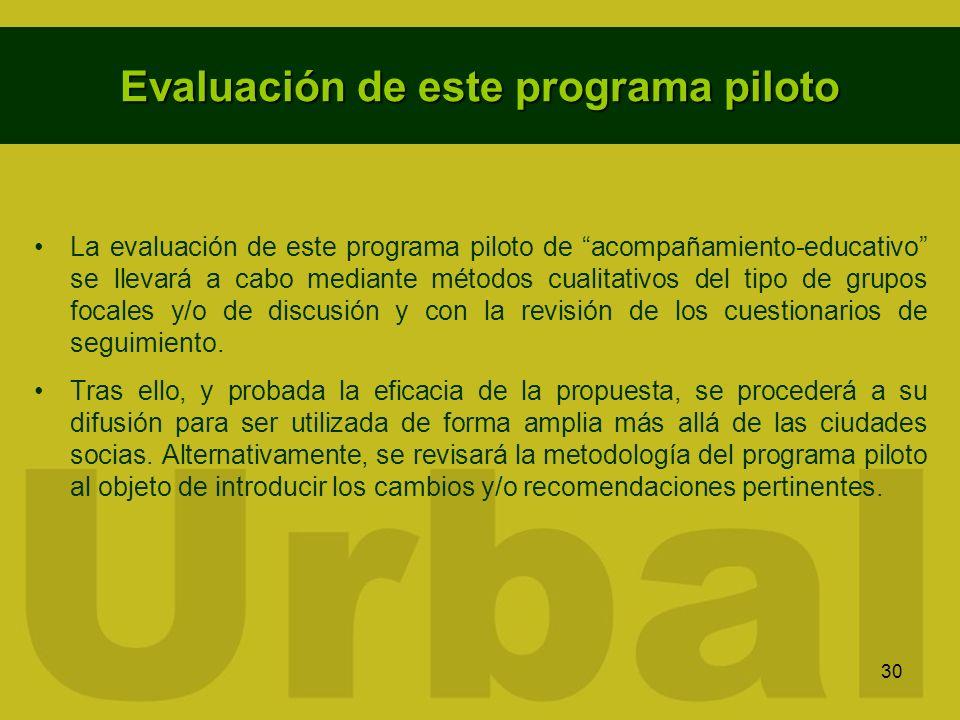 Evaluación de este programa piloto